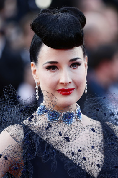 Dita Von Teese Gemstone Choker Necklace [rocket man,hair,face,lip,hairstyle,eyebrow,beauty,fashion,lady,head,skin,dita von teese,rocketman red carpet,screening,cannes,france,the 72nd annual cannes film festival]