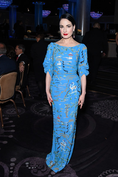 Dita Von Teese Embroidered Dress [fashion model,cobalt blue,clothing,blue,fashion,electric blue,dress,shoulder,haute couture,fashion show,dita von teese,annual holiday benefit - inside,beverly hills,california,the beverly hilton hotel,american ballet theatre]