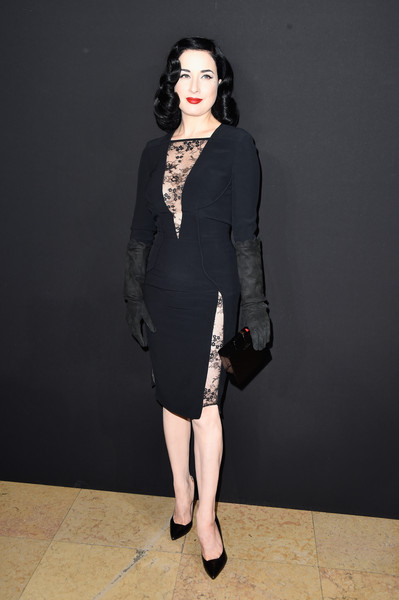 Dita Von Teese Leather Gloves [s/,clothing,fashion model,dress,fashion,shoulder,cocktail dress,neck,formal wear,leg,footwear,dita von teese,front row,part,paris,france,elie saab,paris fashion week,haute couture spring]