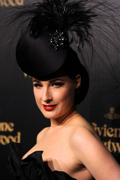 Dita Von Teese Red Lipstick [hair,headpiece,hairstyle,beauty,black hair,fashion,headgear,fashion accessory,model,hair accessory,arrivals,dita von teese,vivienne westwood,store,los angeles,california,melrose,party,party]