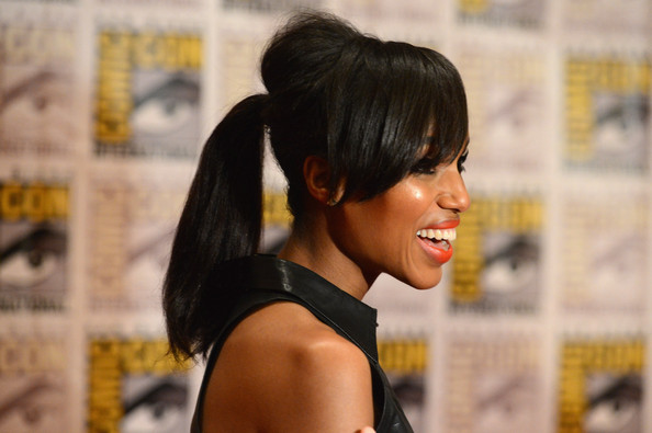"Actress Kerry Washington speaks at ""DJango Unchained"" Press Line during Comic-Con International 2012 at Hilton San Diego Bayfront Hotel on July 14, 2012 in San Diego, California."