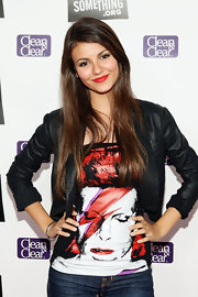 Victoria Justice spiced up her casual getup with a cropped black leather jacket at the DoSomething.org Power of Youth event.