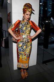 Paloma Faith showed off her love of bold patterns with this knight-in-shining armor-print dress.