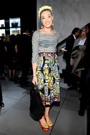Mia Moretti opted for big and bold patterns with this flowing floral and astrological skirt.