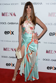 Carol Alt wore this silk halter dress that featured bold prints tot he 'Madonna: The MDNA Tour' premiere.