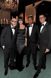 Pharrell is looking fly at the Dolce & Gabbana dinner in Russia wearing a classic suit and bow tie.