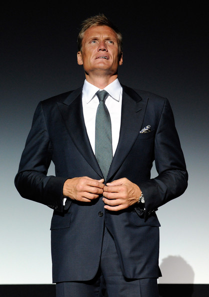 Dolph Lundgren Dotted Tie [the expendables,film,dolph lundgren,planet hollywood resort casino,united states,las vegas,nevada,lionsgate films,screening,screening]