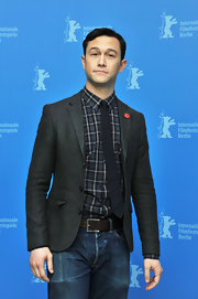 Joseph Gordon-Levitt kept his look casual and cool in a gray blazer at the Berlin Film Festival.