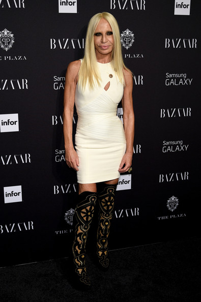 Donatella Versace Over the Knee Boots [icons,clothing,dress,footwear,fashion,cocktail dress,shoulder,joint,shoe,carpet,premiere,carine roitfeld,donatella versace,new york city,the plaza hotel,samsung galaxy,harpers bazaar celebrates icons]