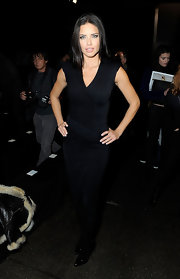 Adriana Lima smoldered in this v-neck LBD at the Donna Karan fashion show.