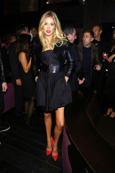 Doutzen Kroes Leather Jacket [victorias secret fashion,clothing,dress,little black dress,fashion,leg,shoulder,lady,blond,event,thigh,doutzen kroes,new york city,tao downtown,victorias secret fashion after party,party]