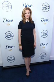 Samantha Bee kept it classy with this navy cocktail dress with a Peter Pan-style collar.