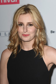 Laura Carmichael looked sweet with her shoulder-length waves at the 'Downton Abbey' cast photocall.