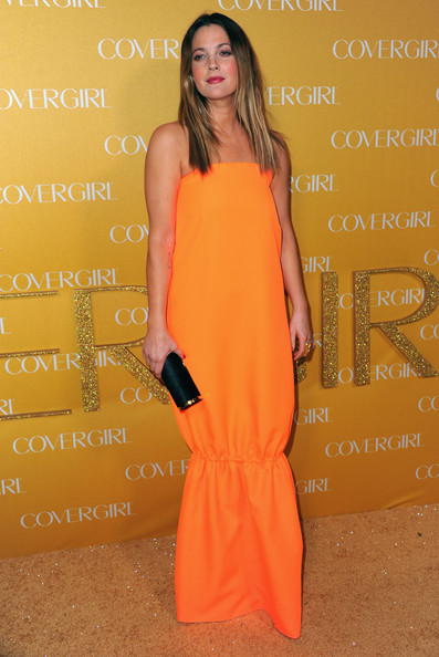 Drew Barrymore Hard Case Clutch [orange,clothing,fashion model,yellow,dress,peach,fashion,premiere,formal wear,cocktail dress,arrivals,drew barrymore,covergirl cosmetics,covergirl cosmetic,west hollywood,california,party,50th anniversary party]