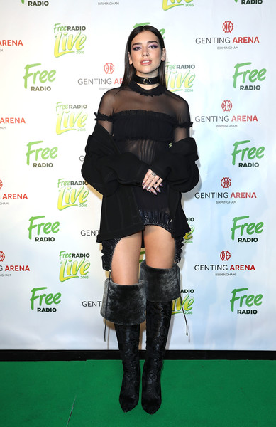 Dua Lipa Over the Knee Boots [clothing,shoulder,joint,thigh,knee-high boot,footwear,leg,fashion,dress,knee,free radio live 2016,dress,shoe,carpet,radio,clothing,fashion,shoulder,room,dua lipa,sylvia young theatre school,little black dress,fashion,shoe,carpet,clothing,dos gardenias stein square neck bralette bikini top,product,getty images]