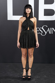 Dua Lipa sealed off her look with a pair of towering platforms.