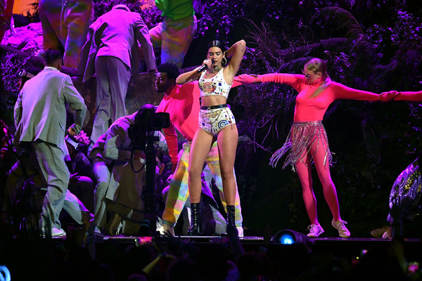 Dua Lipa Crop Top [performance,performing arts,entertainment,dancer,performance art,musical theatre,event,choreography,public event,heater,the o2 arena,london,england,brit awards,dua lipa]