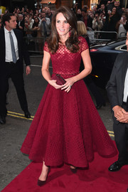 Kate Middleton looked absolutely dreamy in a wine-red fit-and-flare tulle dress by Marchesa Notte at the opening of '42nd Street.'