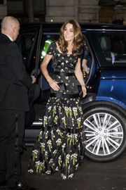 Kate Middleton was spring-glam in a floral-embroidered gown by Alexander McQueen at the 2019 Portrait Gala.