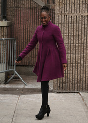 Chirlane McCray covered up in girly-chic style with a bright purple Nanette Lepore coat dress for her meeting with Kate Middleton.