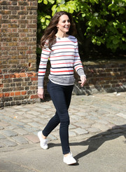 9c654640619 Kate Middleton kept it cute and relaxed in a tricolor striped sweater by Luisa  Spagnoli while