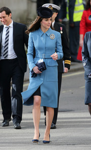 Kate Middleton looked seriously stylish in a belter blue coat by Alexander McQueen while attending the 75th anniversary of the RAF Air Cadets.