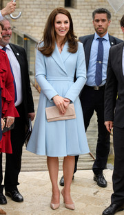 Kate Middleton looked simply stylish in a pastel-blue coat dress by Emilia Wickstead while visiting Luxembourg.
