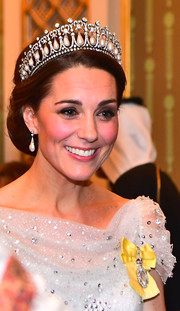 Kate Middleton looked appropriately regal wearing a chignon along with the Lover's Knot tiara while attending a reception for members of the Diplomatic Corps.