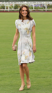 Kate Middleton looked as elegant as ever at the Foundation Polo Match in nude Sliver peep-toe sandals with crisscrossing straps.