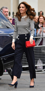 Kate Middleton was casual-chic in a black-and-white striped sweater at the launch of the King's Cup Regatta.