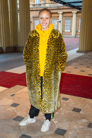 Adwoa Aboah stood out in this yellow leopard-print fur coat at the World Mental Health Day reception.