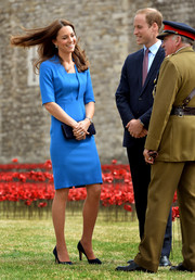 Kate Middleton attended a Tower of London event looking sharp in her blue L.K. Bennett Detroit Dress.