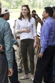 Kate Middleton toured the Kaziranga National Park in India wearing a dotted blouse by R.M. Williams.