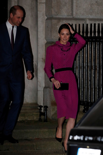 Kate Middleton kept it ladylike in a fuchsia polka-dot dress with a ruffle collar at a reception in Dublin, Ireland.