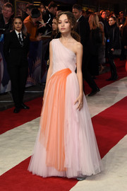 Nico Parker looked princessy in a pink and coral one-shoulder gown by Carolina Herrera at the European premiere of 'Dumbo.'