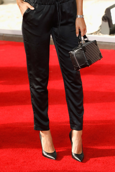 More Pics of Lucy Watson Studded Tote (1 of 3) - Lucy Watson Lookbook - StyleBistro [clothing,waist,red,leg,jeans,fashion,red carpet,trousers,footwear,pocket,red carpet arrivals,lucy watson,accessories detail,england,london,odeon leicester square,dunkirk world premiere]