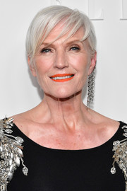 Maye Musk looked stylish with her silver pixie at the E!, Elle and IMG NYFW kickoff party.