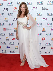 Rachel Boston chose this Grecian-inspired flowing gown for her red carpet look at the A&E Upfront event in NYC.
