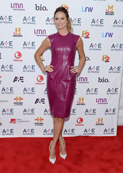 Stacy Keibler chose a super cool and contemporary structured leather dress while at the A&E Upfront Event in NYC.