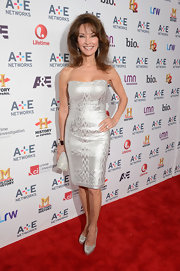 Susan Lucci kept her red carpet look totally classic with this silver strapless dress.