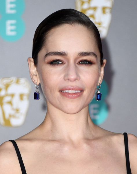 Emilia Clarke kept it simple with this sleek side-parted updo at the 2020 EE British Academy Film Awards.