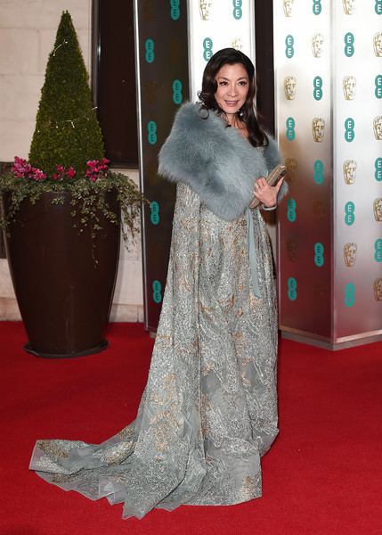 More Pics of Michelle Yeoh Fur Scarf (1 of 2) - Scarves Lookbook - StyleBistro [red carpet,carpet,clothing,flooring,dress,hairstyle,fashion,long hair,premiere,outerwear,red carpet arrivals,michelle yeoh,ee,england,london,grosvenor house,british academy film awards gala,british academy film awards gala dinner]
