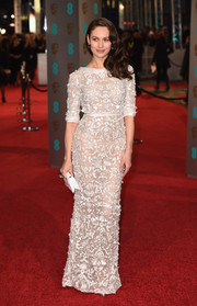 Olga Kurylenko looked lovely at the BAFTAs in an embellished sheer gown by Ralph & Russo.