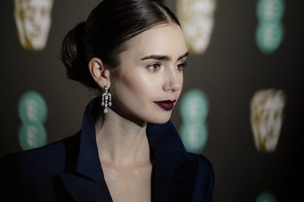 More Pics of Lily Collins Dark Lipstick (4 of 21) - Makeup Lookbook - StyleBistro [hair,face,eyebrow,beauty,lip,hairstyle,lady,head,fashion,chin,red carpet arrivals,lily collins,ee,london,england,royal albert hall,british academy film awards]