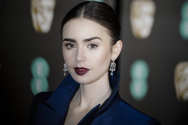 More Pics of Lily Collins Dark Lipstick (3 of 21) - Makeup Lookbook - StyleBistro [face,hair,lip,eyebrow,beauty,head,lady,cheek,hairstyle,fashion,red carpet arrivals,lily collins,ee,london,england,royal albert hall,british academy film awards]