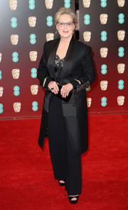 Meryl Streep went for a sleek menswear-inspired look with this black Givenchy suit at the 2017 BAFTAs.