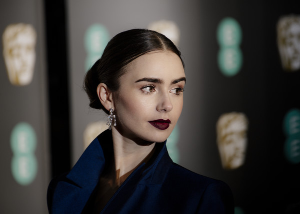 More Pics of Lily Collins Dark Lipstick (1 of 21) - Makeup Lookbook - StyleBistro [hair,face,eyebrow,beauty,hairstyle,fashion,lip,lady,chin,eye,red carpet arrivals,lily collins,ee,london,england,royal albert hall,british academy film awards]
