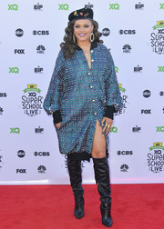Andra Day got all jazzed up in a heavily studded blue coat for the XQ Super School Live.