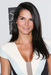 Angie Harmon looked super chic and natural with a long side-parted 'do.