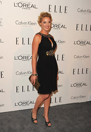 Katherine Heigl paired her chic bejeweled cocktail dress with satin slingbacks.
